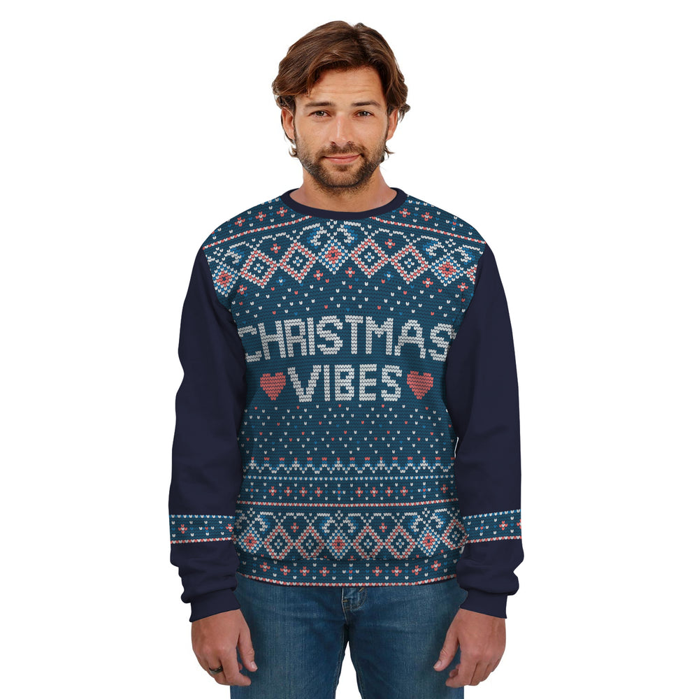 Ugly Christmas Sweater Blue Pattern With Text