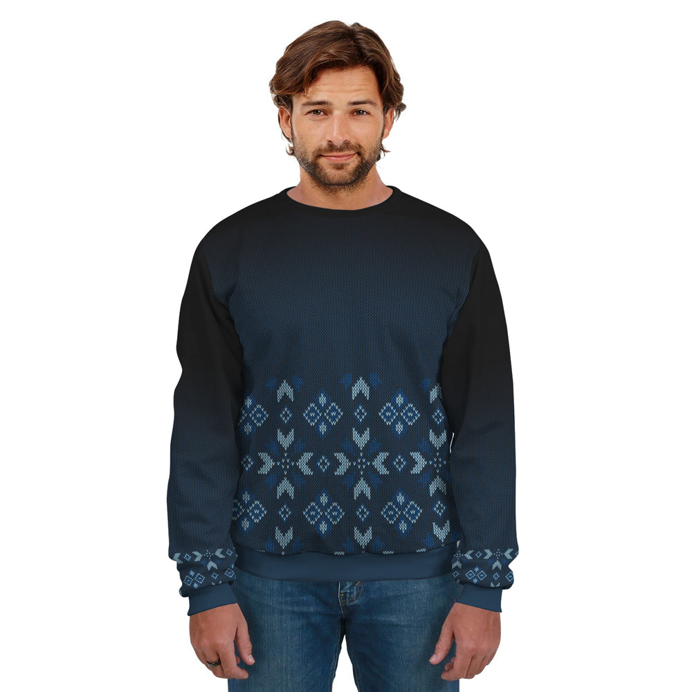 Ugly Christmas Sweater Dark Blue Pattern