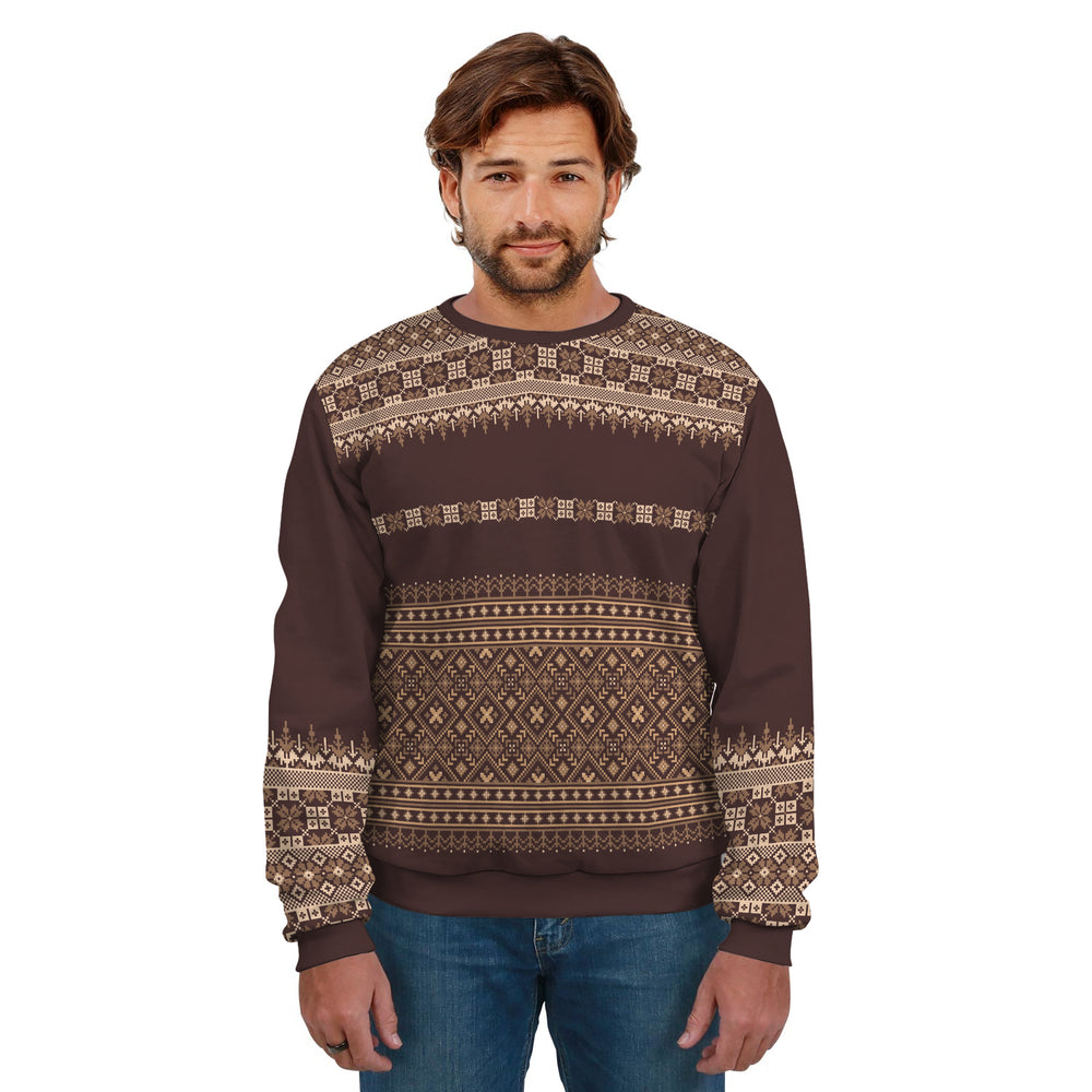 Ugly Christmas Sweater Brown Pattern