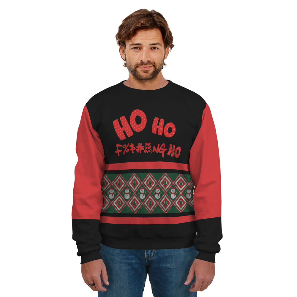 Ugly Christmas Sweater Red Black Green With Text