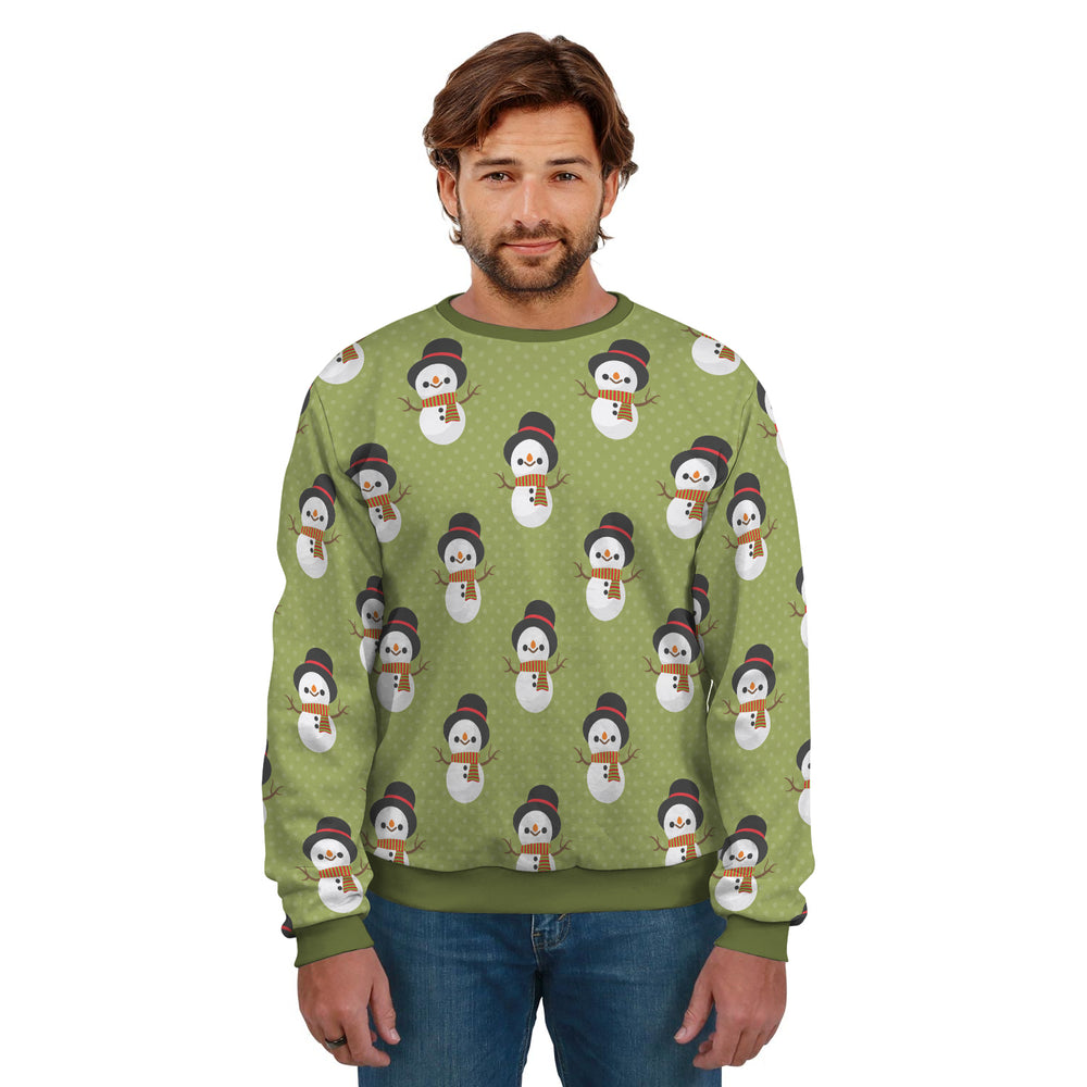 Ugly Christmas Sweater Green With Snowman