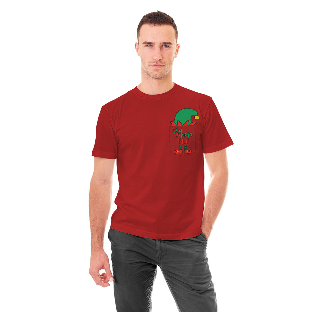Christmas Elf Pocket Tshirt Mama Elf