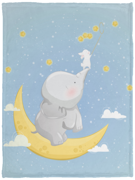 Baby Velveteen Micro Fleece Blanket Elephant And Bunny Catch Stars
