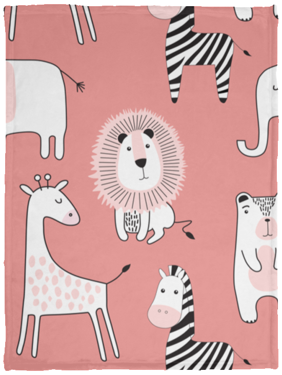 Baby Velveteen Micro Fleece Blanket Safari Animals