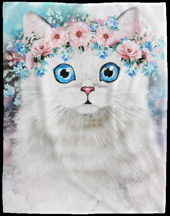 Cat Blanket Water Color Fleece Blanket Beautiful