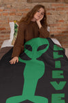 Alien Believe Extra Large Fleece Sherpa Blanket