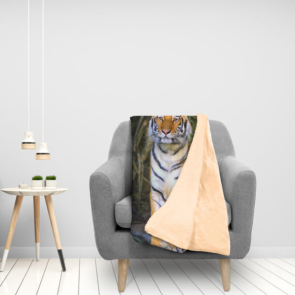 Anticipation Tiger In Waiting Extra Large Fleece Sherpa Blanket