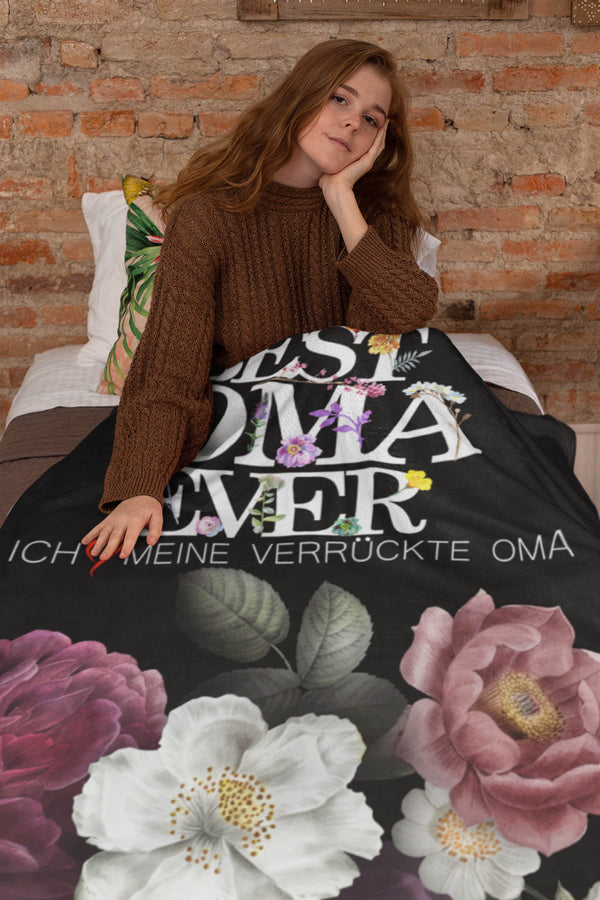 Oma Gift Idea. I Love My Crazy Oma Cozy Plush Fleece Blanket