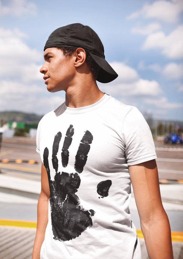 Black Hand Print Shirt For Guys