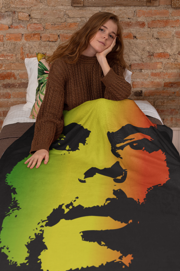 Bob Marley Extra Large Fleece Sherpa Blanket