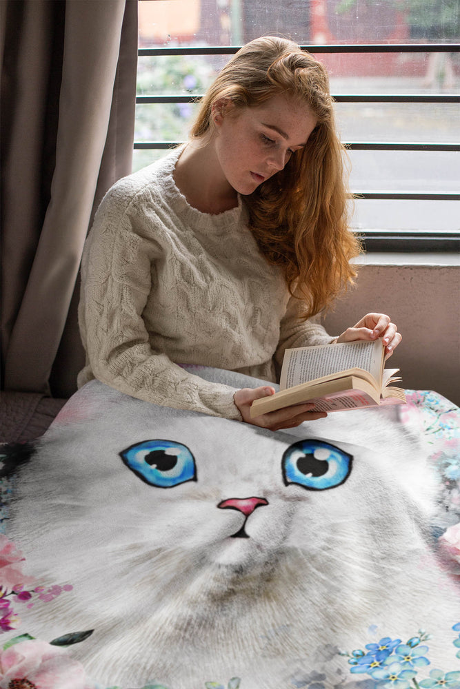 Cat Blanket Beautiful Water Color Cat Plush Fleece Blanket