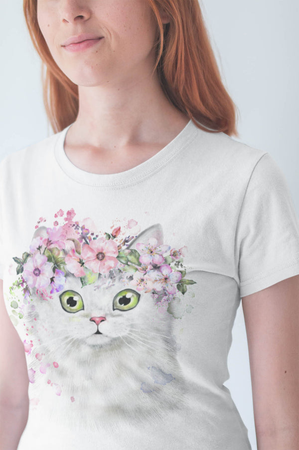 Cat Shirt Beautiful Water Color Cat Design On Ladies' Short-Sleeve T-Shirt