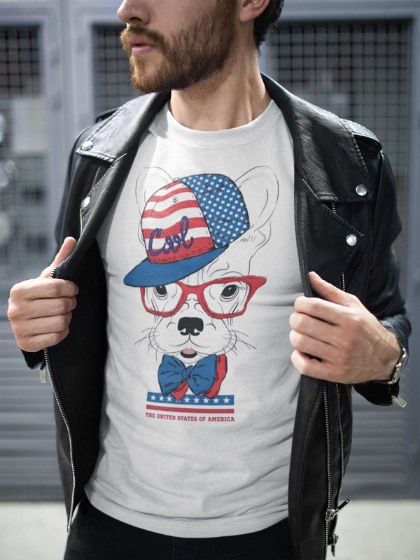 Cool American Dog With Glasses Unisex T-Shirt