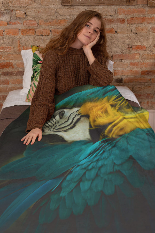 Blue Yellow Macaw Extra Large Fleece Sherpa Blanket