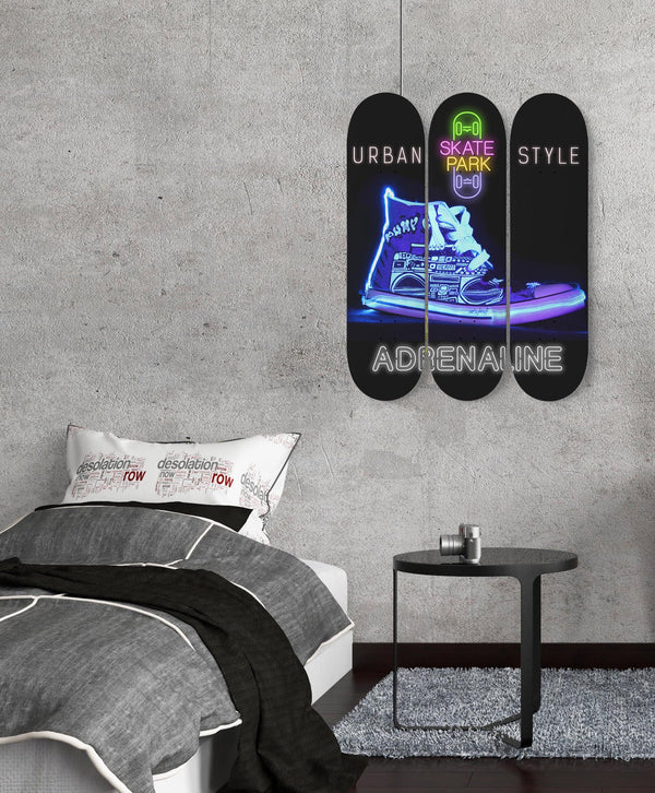Skateboard Set Of 3 Urban Wall Art One Of A Kind Custom Piece