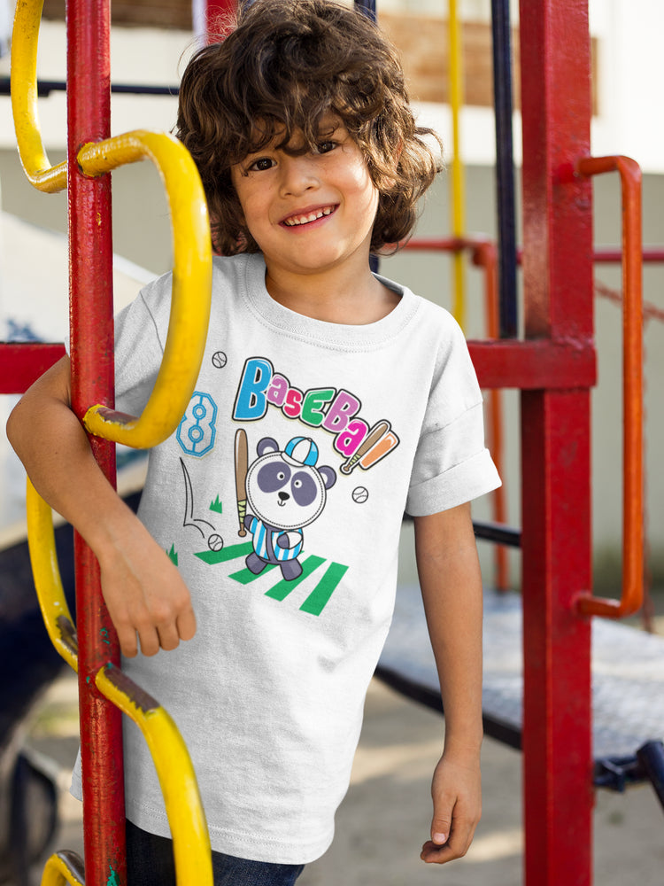 Panda Playing Baseball Cute Boys' Cotton T-Shirt