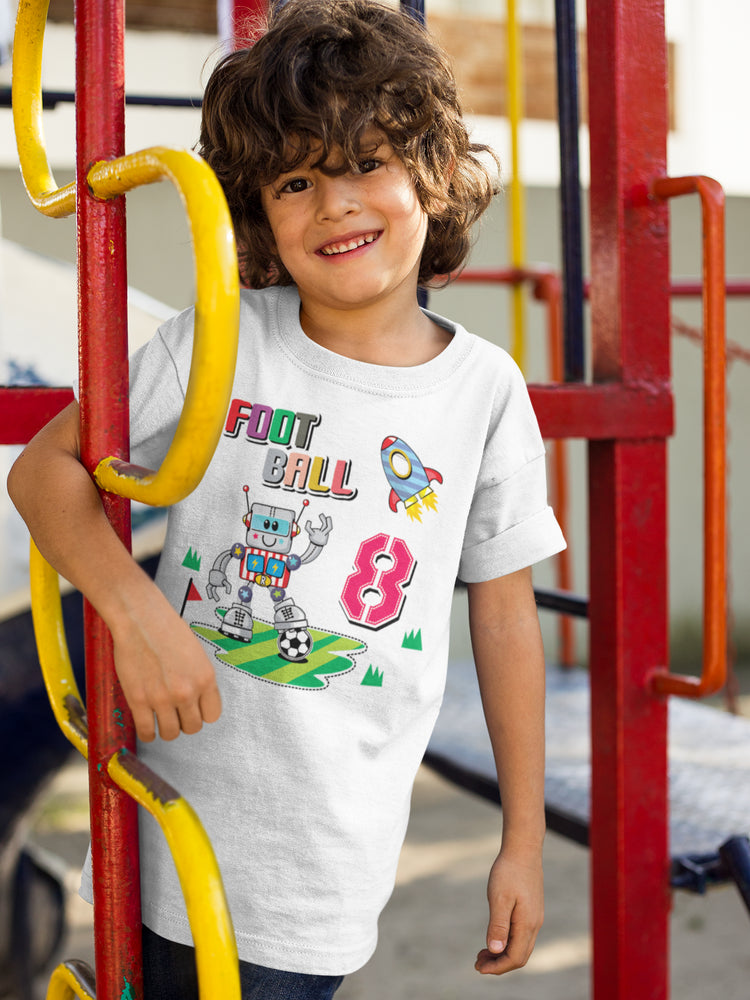 Cute Football Robot Boys' Cotton T-Shirt