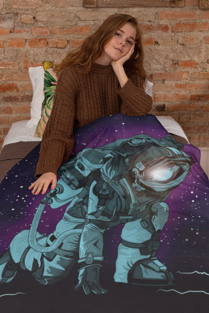 Spaceman Extra Large Fleece Sherpa Blanket