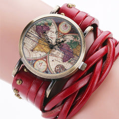 Braided Leather World Map Watch