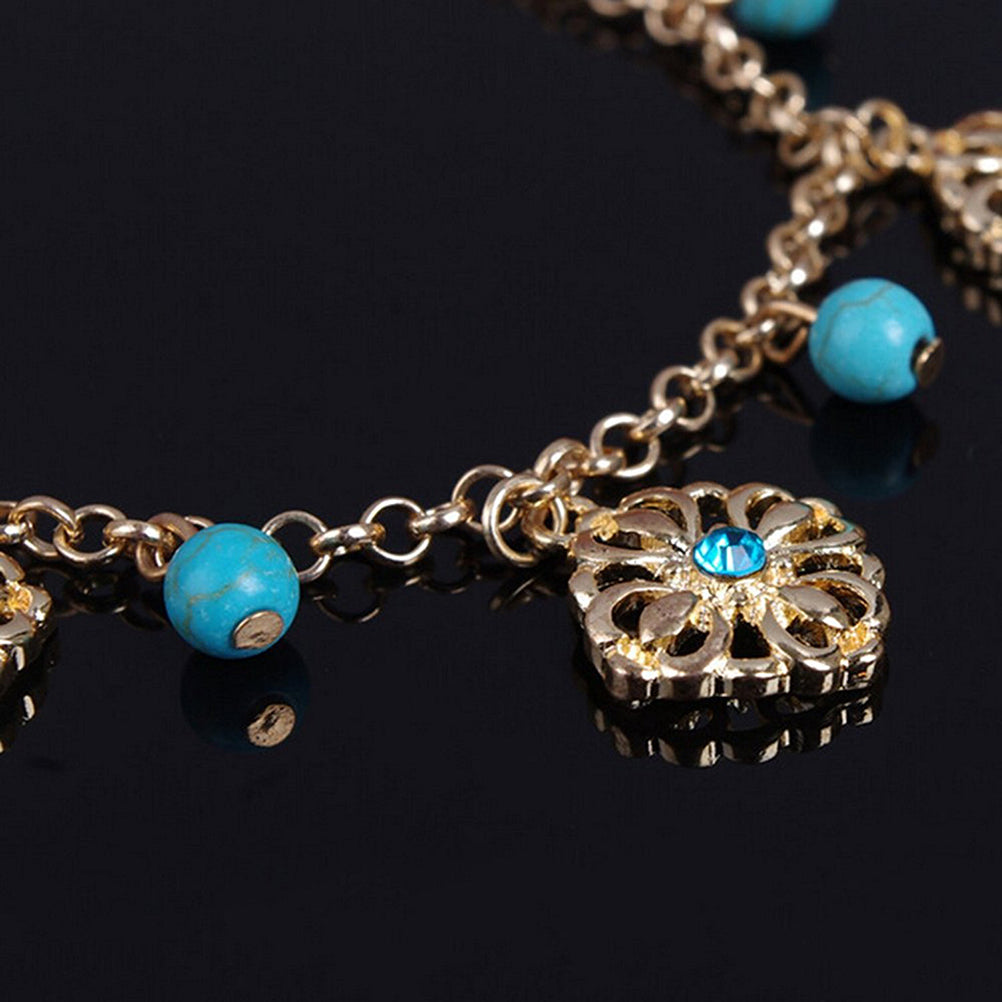 2 Piece Flower Bead Anklet