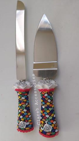 Beaded Wedding Cake Knife and Lifter Set