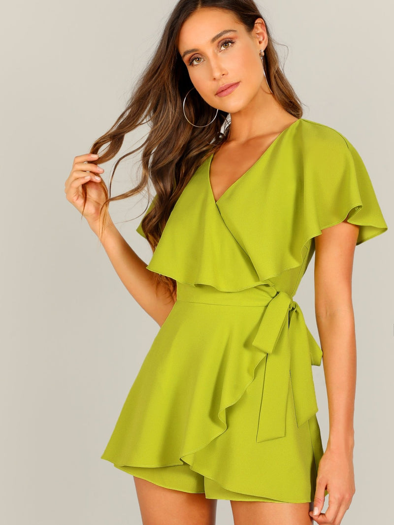 Surplice Neck Neon Lime Wrap Knotted Romper