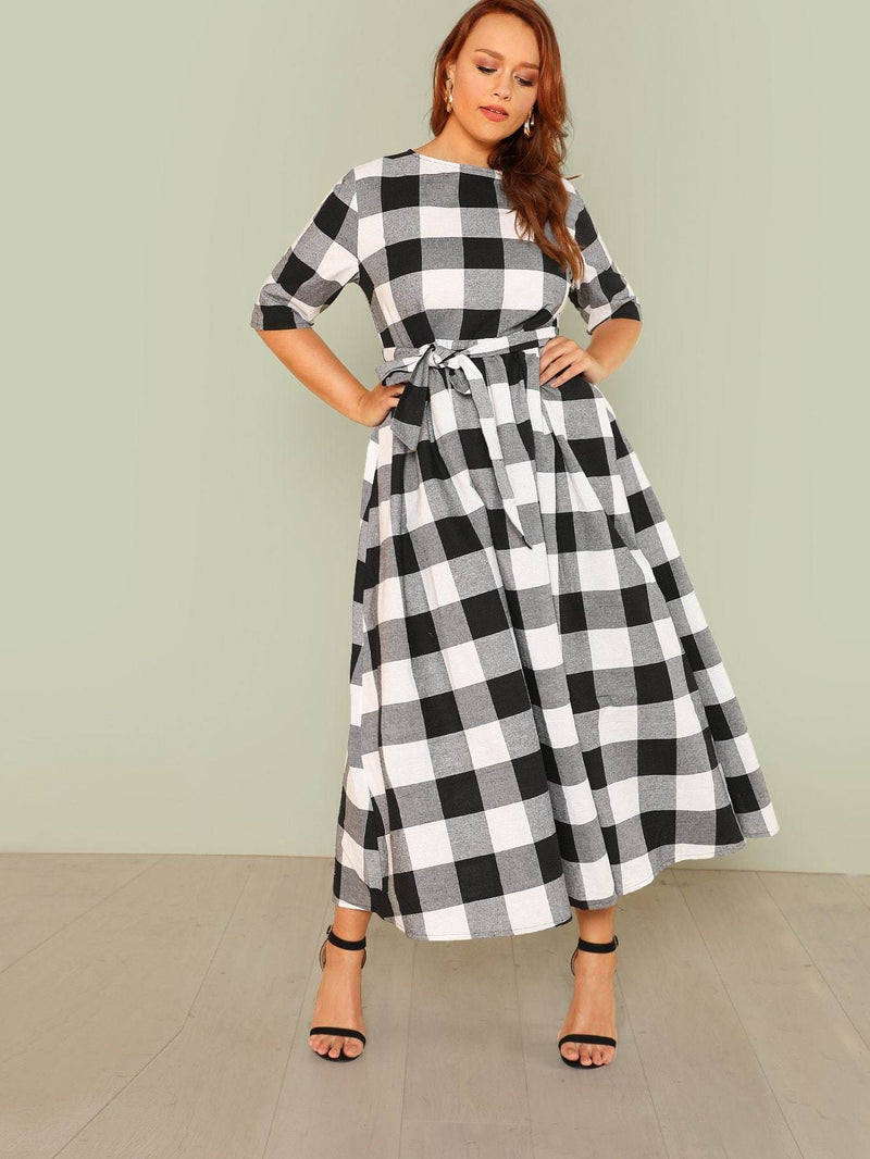 Plus Self Belted Gingham Dress