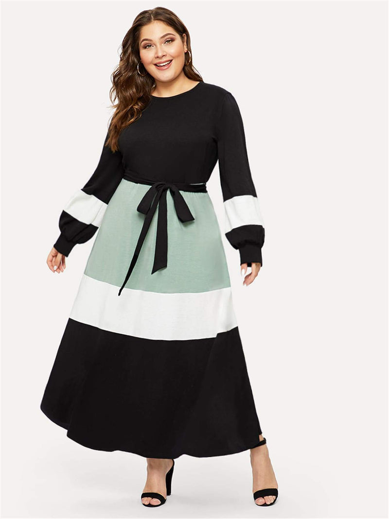 Plus Cut-and-sew Self Belted Lantern Sleeve Dress
