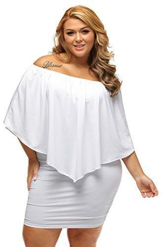 Gloria & Sarah Women's Sexy Off Shoulder Ruffles Multiple Dressing Layered Plus Size Mini Dress