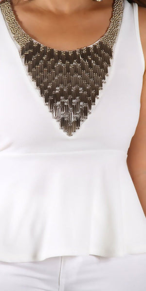 White Studded Detailing Sleeveless Peplum Top - MY SEXY STYLES