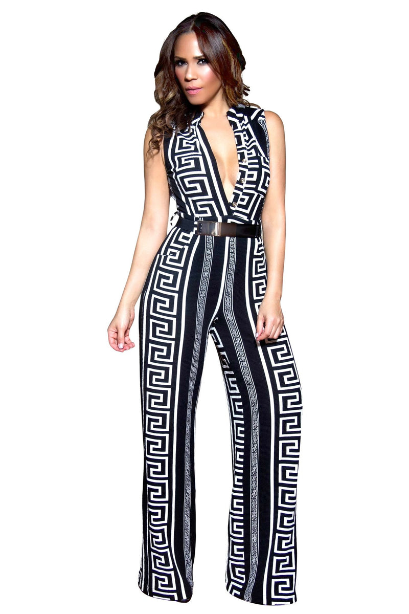 Classy Geometric Print Black and White Belted Cocktail Jumpsuit- Black - MY SEXY STYLES