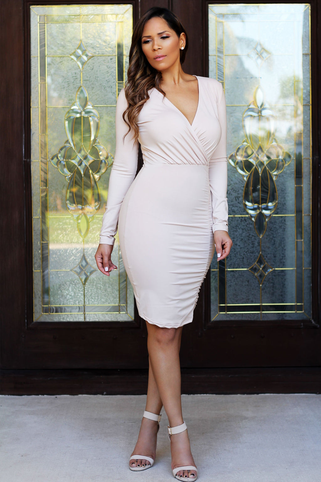 Eloise Casual Long Sleeve V-Neck Ruched Sheath Wrap Dress