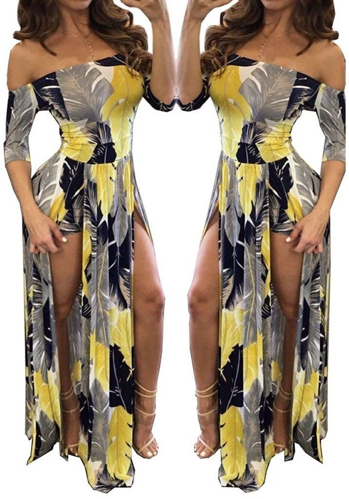 Monserrat Floral Off Shoulder Beach High Low Slit Romper in Yellow