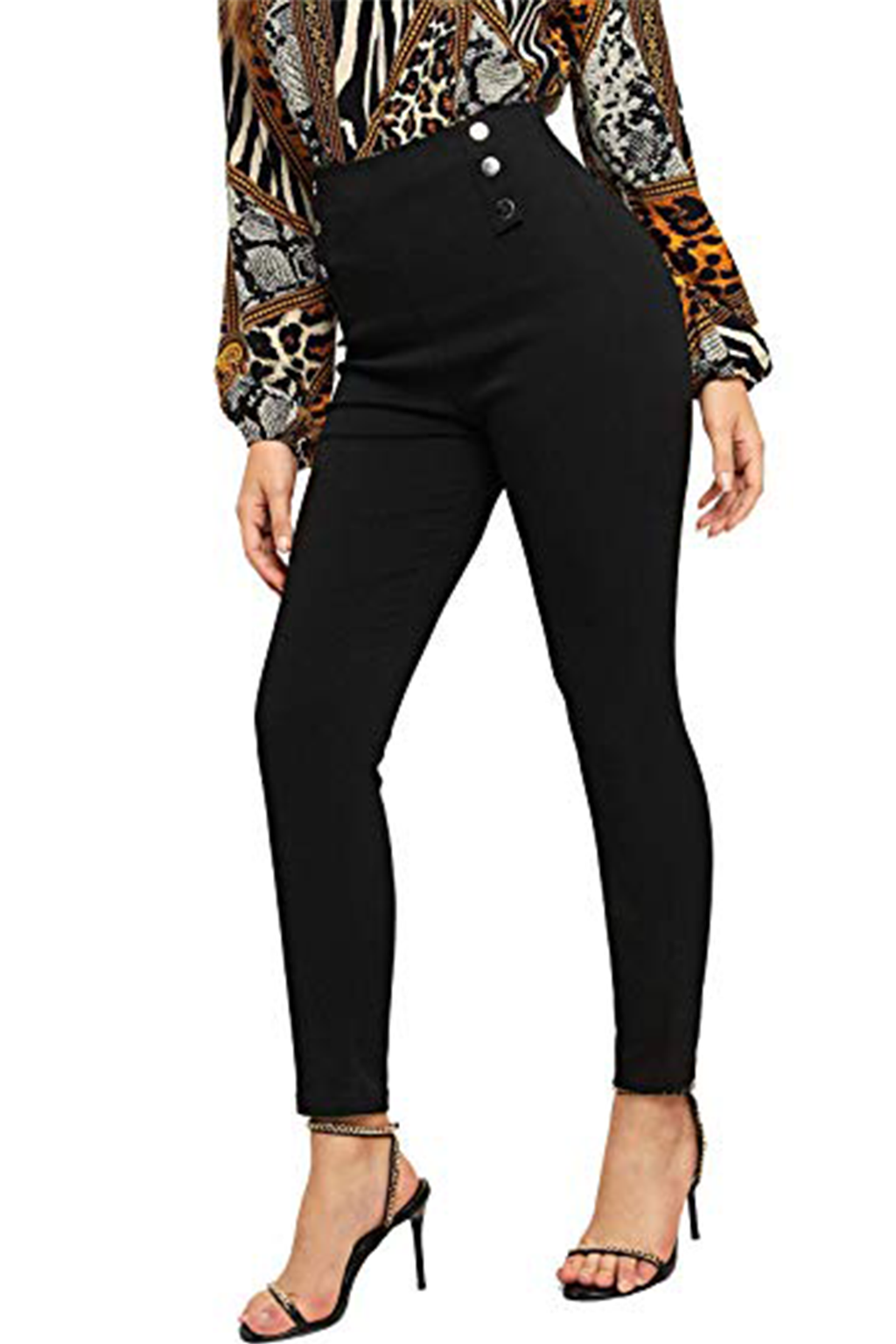 Louisa Casual Button High Waist Zip Skinny Stretch Fit Pants