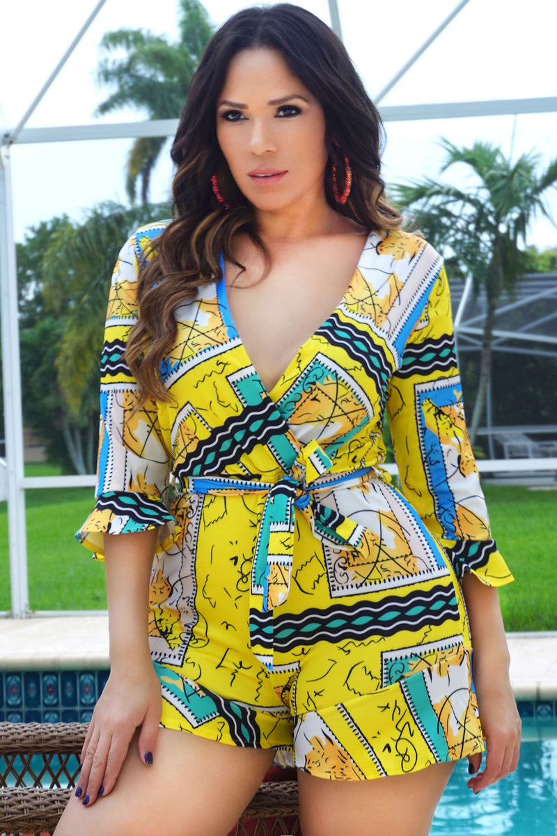 Rebecca Deep V-Neck Quarter Sleeve Printed Clubbing Romper - Yellow