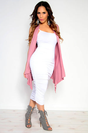 Sleeveless Open Front Draped Solid Casual Mid Length High Low Cardigan in Dusty Rose