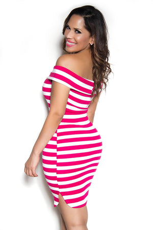 Slimming Fuchsia Stripped Folded Off The Shoulder Neckline Bodycon Party Dress - MY SEXY STYLES