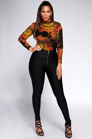 Vera Turtle Neck Multicolor Print Long Sleeves Blouse