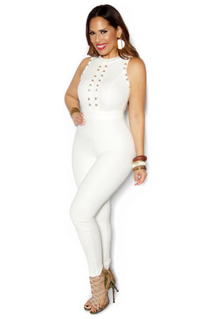 White Sleeveless Gold Accent Bodycon Jumpsuit - MY SEXY STYLES