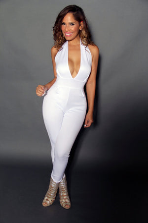 White Sexy Halter Top Full Cocktail Jumpsuit - MY SEXY STYLES