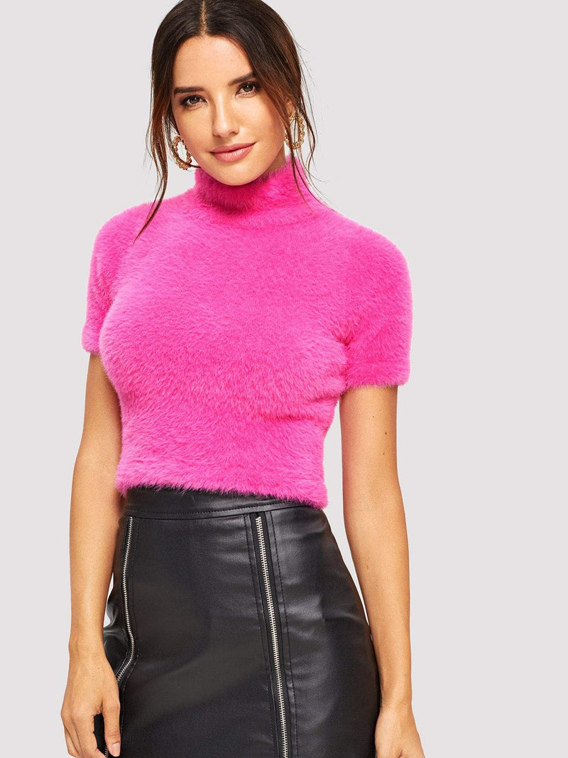 Neon Pink Form Fitting Short Sleeve Teddy Sweater