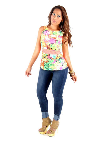 Yellow Coral Floral Print Sleeveless W/ Cutout Waist Top - MY SEXY STYLES