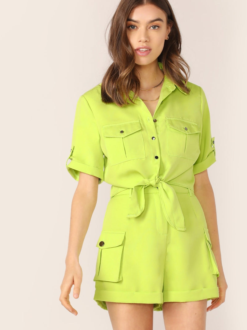 Neon Button Up Tie Hem Shirt And Cargo Shorts Set