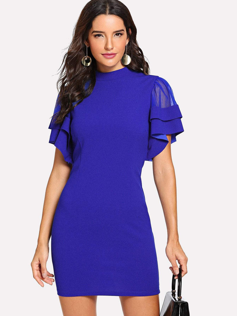 Layered Flutter Sleeve Buttoned Keyhole Back Dress