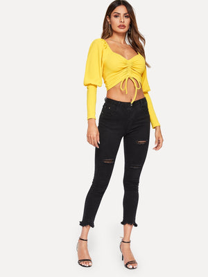 Mutton Sleeve Drawstring Front Top