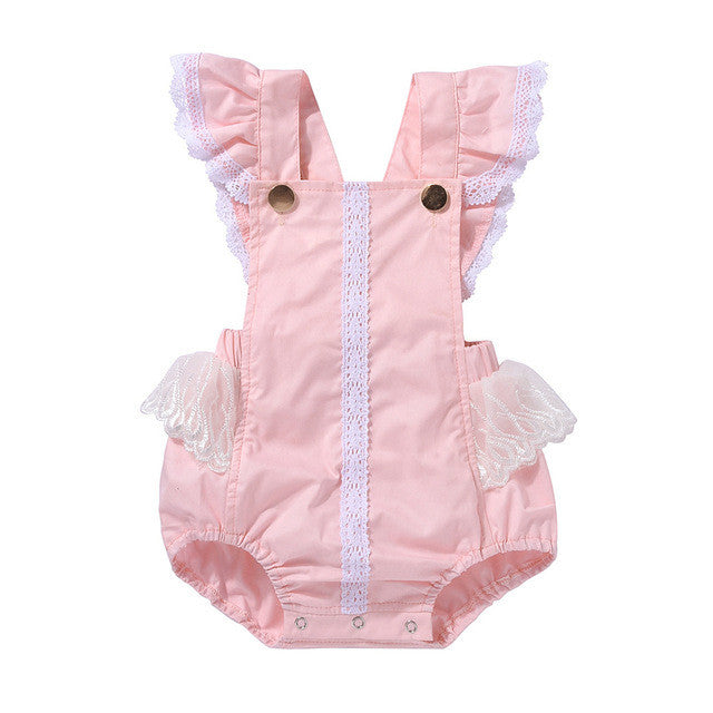 Newborn baby girl rompers Sleeve Lace Patchwork coveralls