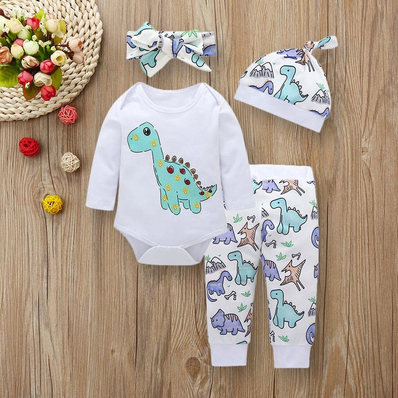4pcs Baby Girls Boys Clothes Set Dinosaur