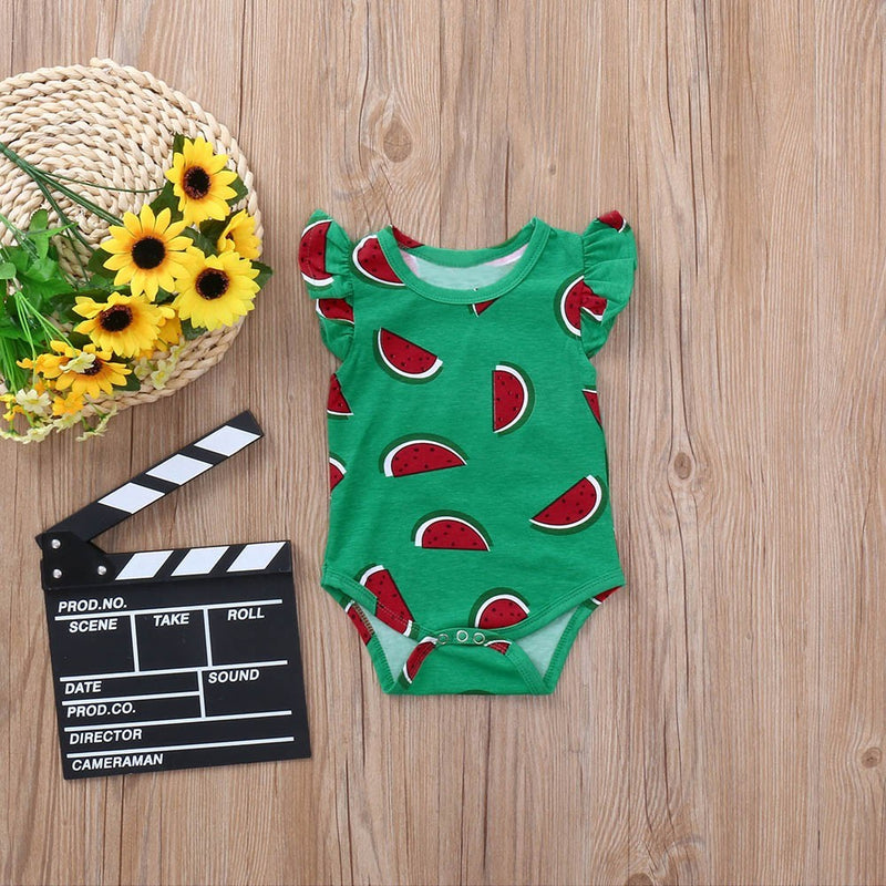 Summer Newborn Baby Boys Girls Watermelon Fruit Print Romper Jumpsuit Clothes