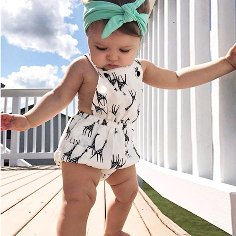 Infant Baby Sleeveless Animal Cartoon Backless Print Vest