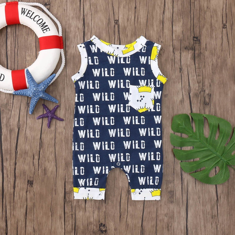 Summer Newborn Baby Boys Girls Letter Crown Print Pocket Romper